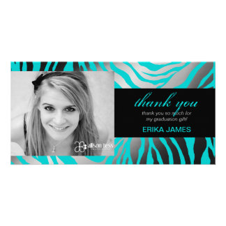 311-Faux Silver Zebra | Graduation Thank you Card