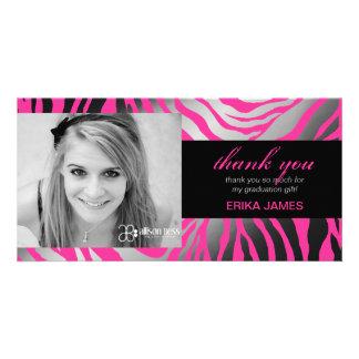 311 Faux Silver Zebra | Graduation Thank you Custom Photo Card
