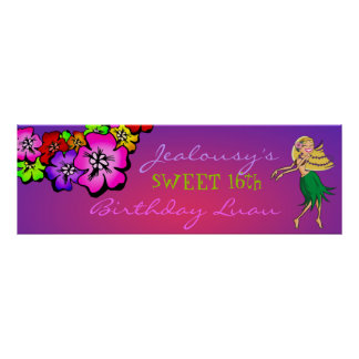 311-Flower Shower Birthday Banner | Sunset Poster