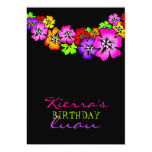 "311 Flower Shower Lei Invitation Black 5"" X 7"" Invitation Card"