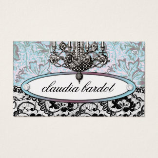 311-Frenchie Budoir | Vintage Turquoise Business Card