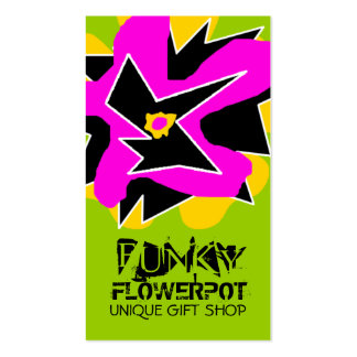 311-FUNKY FLOWER | GREEN BUSINESS CARD TEMPLATE