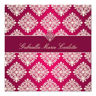 311 Gabriella Hot Pink & MaroonDamask Invitation
