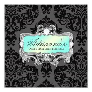 311 Glam Aqua Lime Damask Diamonds 13 Cm X 13 Cm Square Invitation Card