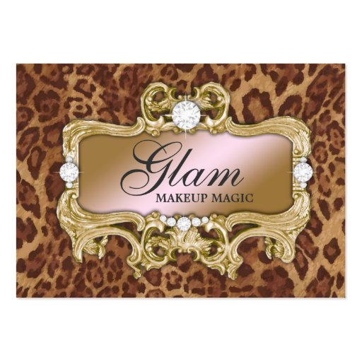 311 Glam Crazy Pink Gold Leopard Business Card Templates