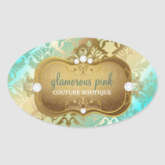 311 Glamorous Golden Ocean Damask Oval Sticker