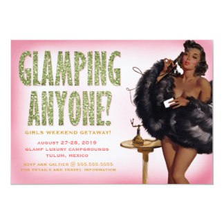 311 Glamping Anyone Pinup Girl African American 13 Cm X 18 Cm Invitation Card
