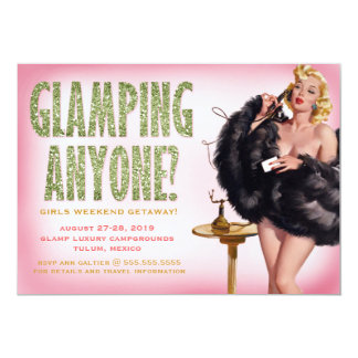 311 Glamping Anyone Retro Pinup Girl 13 Cm X 18 Cm Invitation Card