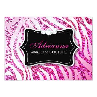 311 Glitter Zebra Pink Gift Certificate 11 Cm X 16 Cm Invitation Card