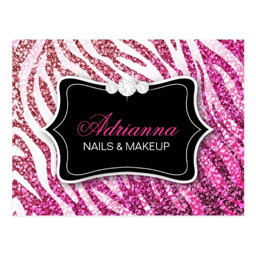311 Glitter Zebra Pink Post Card
