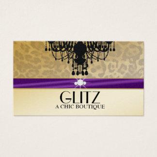 311 Glitz Boutique Leopard Diamonds Eggplant Business Card