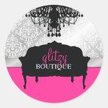 311 Glitzy Chic Boutique Hot Pink Round Sticker