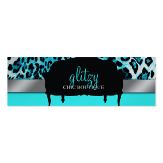 311 Glitzy Chic Boutique - Turquoise Metallic Business Card Templates
