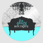 311 Glitzy Chic Boutique Turquoise Round Stickers