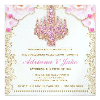 311 Glitzy Pink Chandelier Metallic Invitation