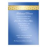 311 Golden Blue Greek Key Custom Invitations