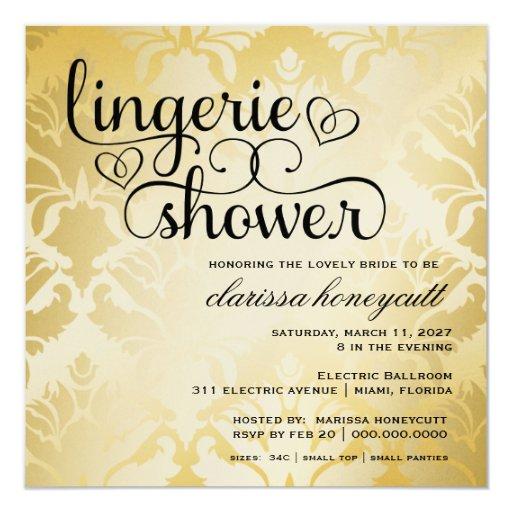 311 Golden Damask Shimmer Bridal Shower 13 Cm X 13 Cm Square Invitation Card