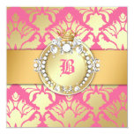 311-Golden Damask Shimmer Queen Baby Shower Personalized Announcements