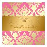 311-Golden Damask Shimmer Strawberry Brulee Personalized Invites