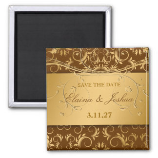 311-Golden diVine Chocolate Brown Save the Date Square Magnet