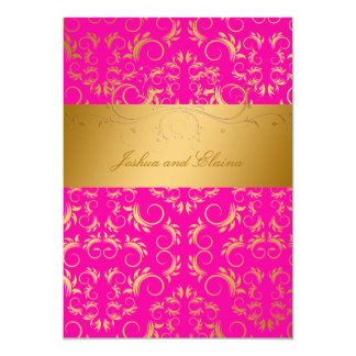 311-Golden diVine | Passion Pink 13 Cm X 18 Cm Invitation Card