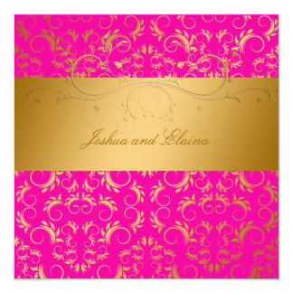 311-Golden diVine Passion Pink  5.25 x 5.25 13 Cm X 13 Cm Square Invitation Card