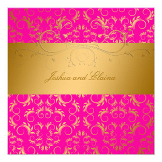 311-Golden diVine Passion Pink 5 25 x 5 25 Personalized Announcement