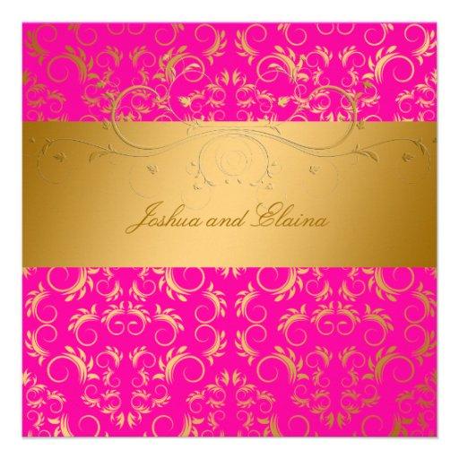 311-Golden diVine Passion Pink  5.25 x 5.25 Personalized Announcement