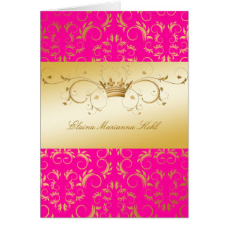 311-Golden diVine Passion Pink Greeting Card