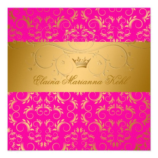 311-Golden diVine Passion Pink Sweet 16 Custom Invitations