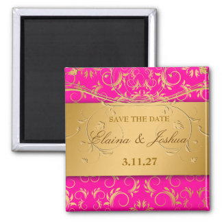 311-Golden diVine Passion Pinkt Save the Date Fridge Magnets
