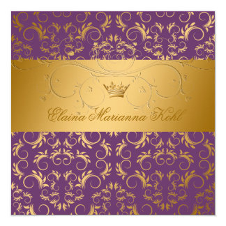 311-Golden diVine Purple Royale Sweet 16 13 Cm X 13 Cm Square Invitation Card