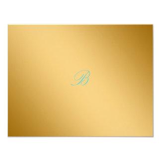 311-Golden diVine Turquoise Rapture RSVP card 11 Cm X 14 Cm Invitation Card