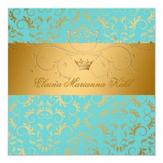 311-Golden diVine Turquoise Rapture Sweet 16 13 Cm X 13 Cm Square Invitation Card