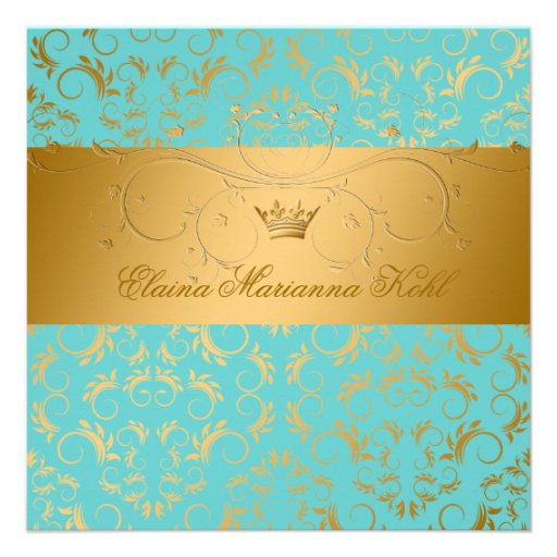 311-Golden diVine Turquoise Rapture Sweet 16 Custom Invites
