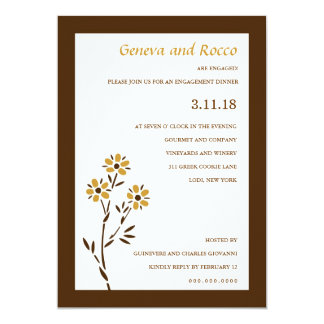 311-GOLDEN PASSION FLOWER 13 CM X 18 CM INVITATION CARD