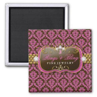 311-Golden Raspberry Chocolate Bling Square Magnet