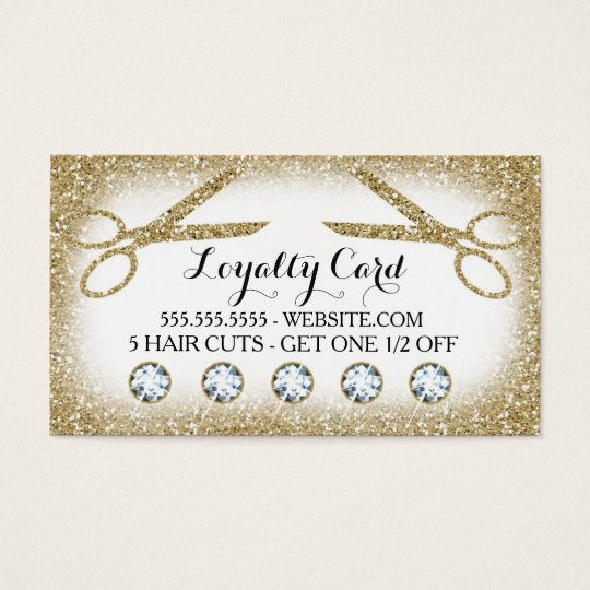 311 Hair Salon Loyalty Card Black White Gold