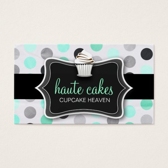 311 Haute Cupcakes Pink Polka Dots Mint Business Card