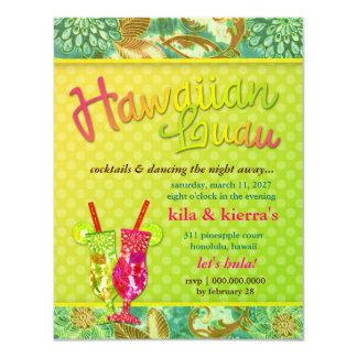 311 Hawaiian Luau 11 Cm X 14 Cm Invitation Card