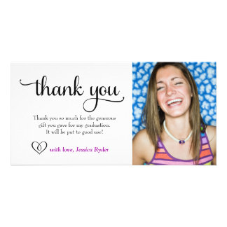 311 Heart Thank You Photo Card Purple Text