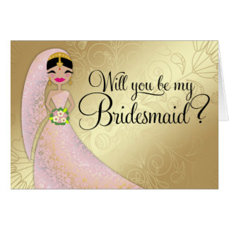311 Henna Ornate Blush Pink Dress Brunette Indian Greeting Card