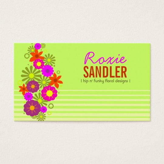 311 HIP N' FUNKY FLOWERS LIME BUSINESS CARD