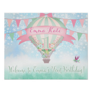 311 Hot Air Balloon Welcome Sign Poster