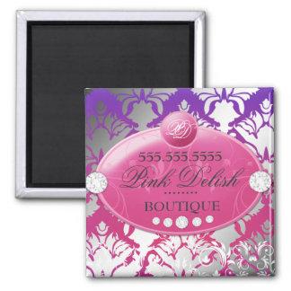 311-Hot Pink Delish Damask Shimmer | Purple Radian Square Magnet