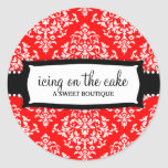 311 Icing on the Cake Cherry Red White Damask Round Sticker