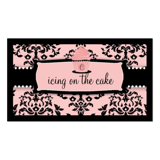 311 Icing on the Cake Cupcake Sweet Icing Pink Business Card Templates