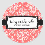 311 Icing on the Cake Melon White Damask Classic Round Sticker