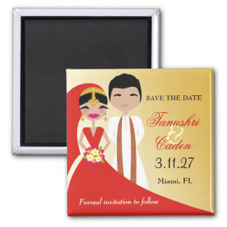 311- Indian Beauty Bride with Groom Square Magnet