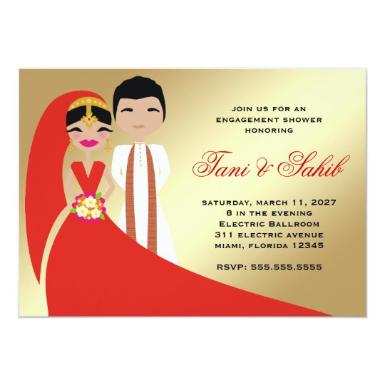 311 Indian Bride & Groom Bindi Invitation
